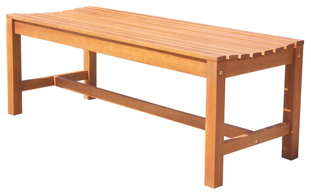 Malibu Eco-Friendly 4&x27; Backless Outdoor Hardwood Garden Bench.