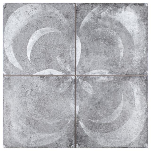 "17.88""x17.88"" Royals Vendome Porcelain Floor and Wall Tile, Gris, Set of 5"