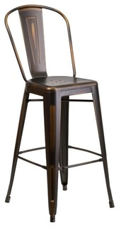 "Bowery Hill 30"" Metal Bar Stool, Distressed Copper"