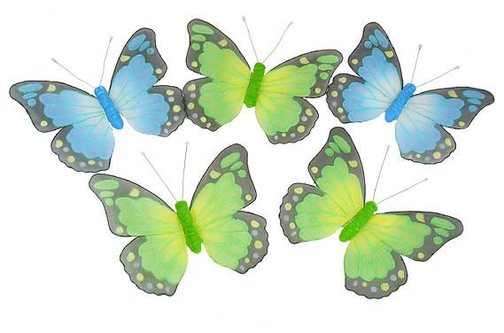 """Glitter Mesh Butterfly Garland, 15"""" Butterflies, Blue And Green, 6&x27;."""