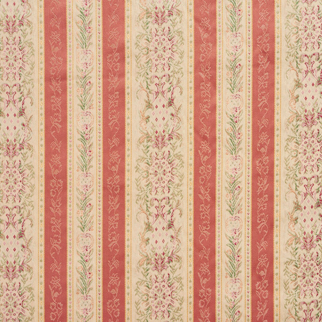 Coral And Tan Heirloom Stripe Brocade Upholstery Fabric By The Yard