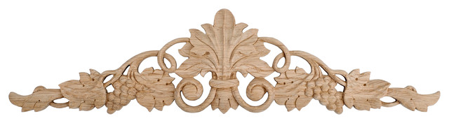 "Hand-Carved Grape Vine Onlay Applique, Red Oak, 24.3""w."