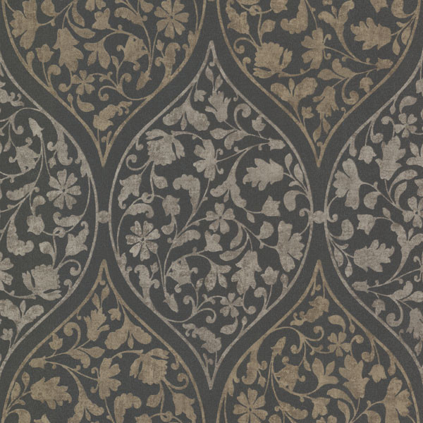 Adelaide Charcoal Ogee Floral Wallpaper, Bolt.