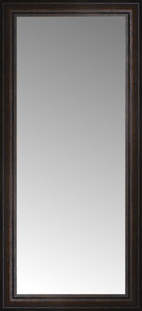 18x38 Custom Framed Mirror, Distressed Brown.