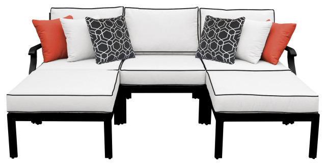 kathy ireland Madison Ave. 5 Piece Aluminum Patio Furniture Set 05e, Snow
