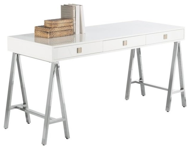 Contemporary Desk With Stainless Steel Trestle Style Base