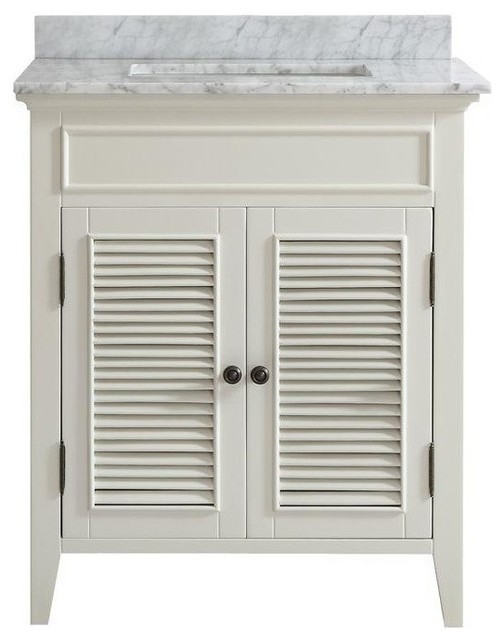 "30"" Belvedere White Shutter Door Style Bathroom Vanity With Marble Top."