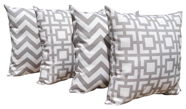 Zigzag Chevron Outdoor Throw Pillows, Gray and Gigi Gray, Set of 4