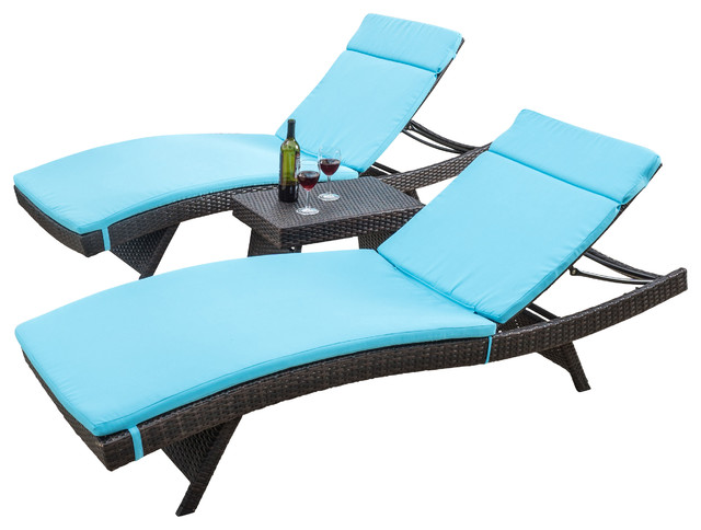 Lakeport Outdoor Adjule Blue Chaise Lounge Chair 3 Piece Set
