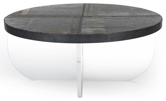 Blaine Modern Acrylic Zinc Top Round Coffee Table