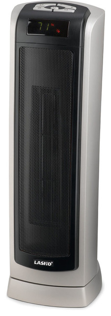 """23"""" Ceramic Tower Heater With Remote Control, Silver-Gray/black."""