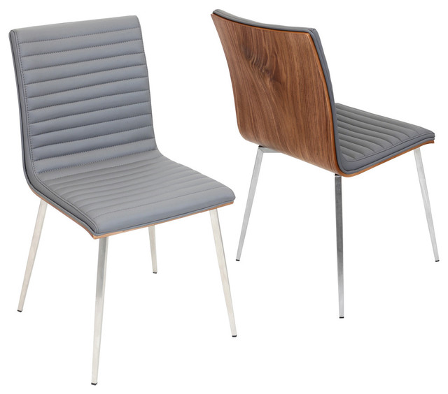 LumiSource Mason Wood & Stainless Steel Chair With Swivel, Set of 2