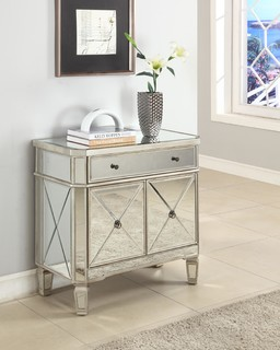 Powell Mirrored 1-Drawer, 2-Door Console 233-228