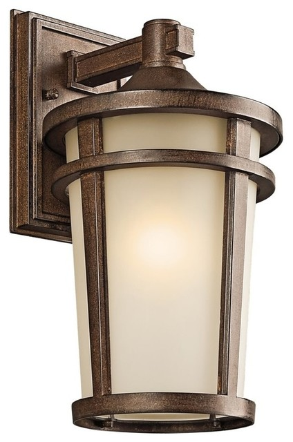 Kichler Atwood Outdoor Wall 1-Light, 8x14.25, Brown Stone, Light Umber Mist.