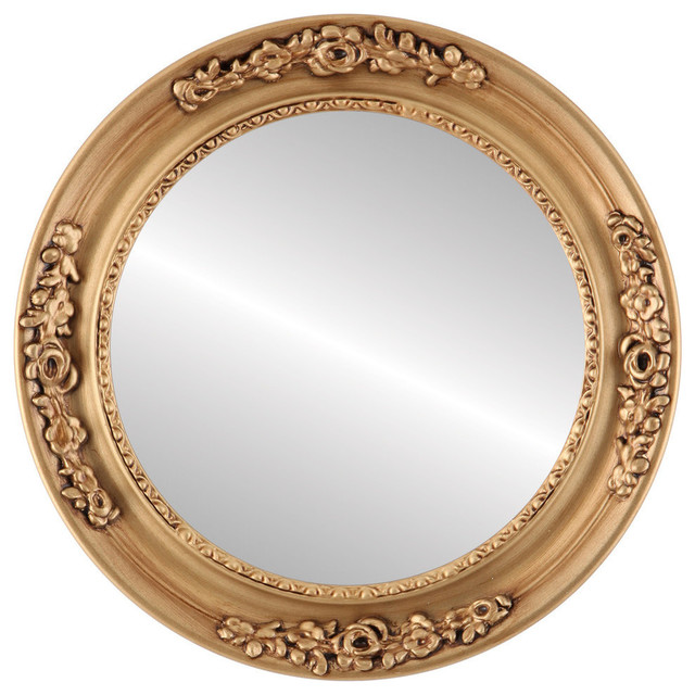 Versailles Framed Round Mirror In Gold Paint Traditional Wall Mirrors By The Oval Round Mirror Store