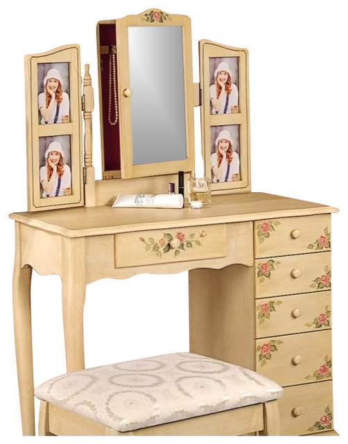 Coaster Hand Painted Wood Makeup Vanity Table Set with Mirror in Ivory  transitional bedroom. Coaster Hand Painted Wood Makeup Vanity Table Set with Mirror in
