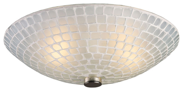 Elk Lighting Fusion 2 Light Semi Flush In Satin Nickel And White Mosaic Glass.