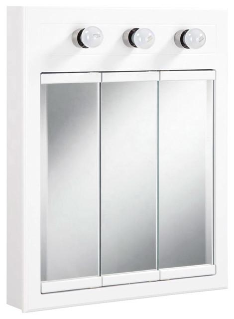 Concord 3 Light Medicine Cabinet White Gloss Finish.