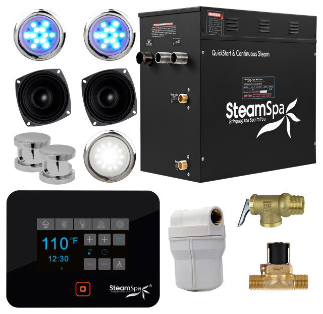 Steamspa Black Bluetooth 12kw Quickstart Steam Bath Generator Modern Steam Showers By Spaworld Corp Houzz
