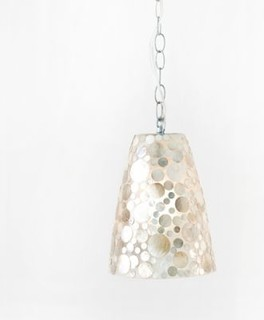 George Shell Fiberglass Pendant Light by Worlds Away eclectic pendant lighting