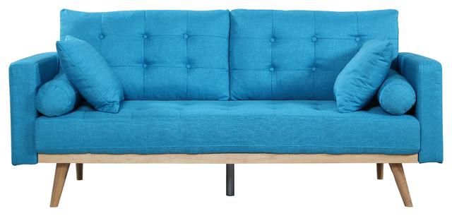 Mid-Century Modern Tufted Linen Fabric Sofa, Light Blue.