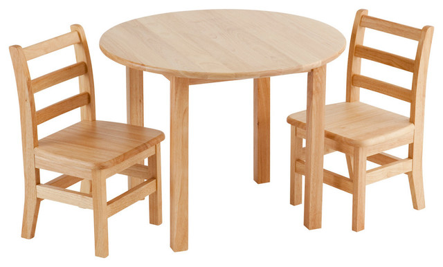 30 Round Hardwood Table and 2 3 Rung ChairsContemporary