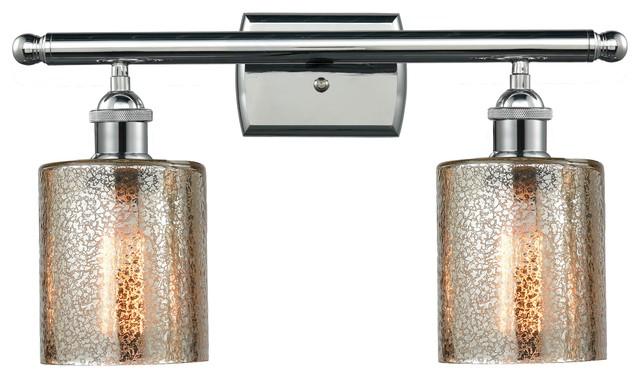 "Avalon Polished Chrome Bathroom Vanity Ceiling Lights: Polished Chrome 2-Light Cobbleskill 16"" Bath, Vintage"