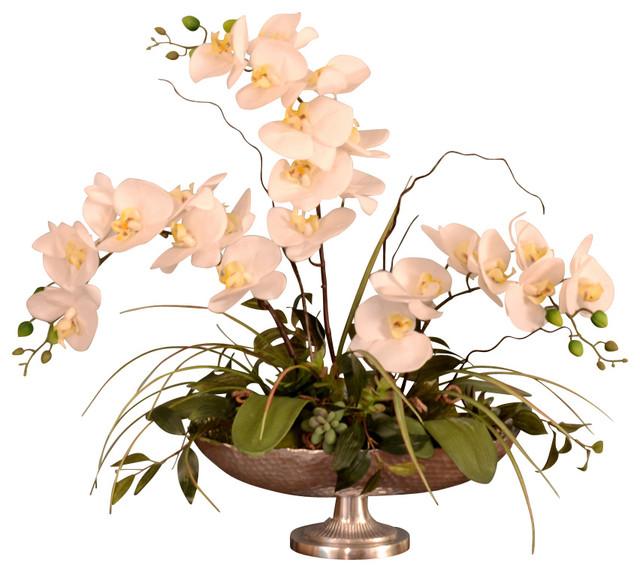 White silk orchid in silver pedestal bowl traditional artificial white silk orchid in silver pedestal bowl mightylinksfo