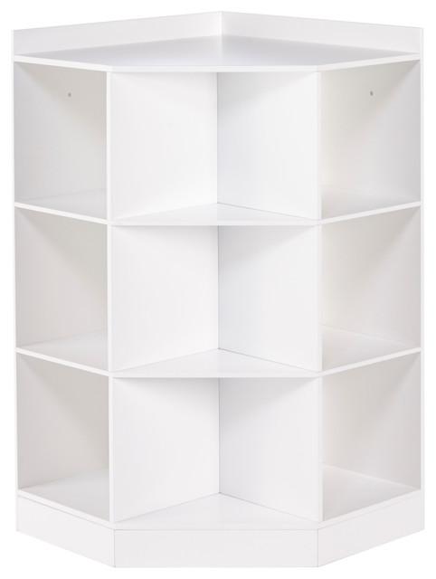 RiverRidge Kids 6 Cubby, 3 Shelf Corner Cabinet, White