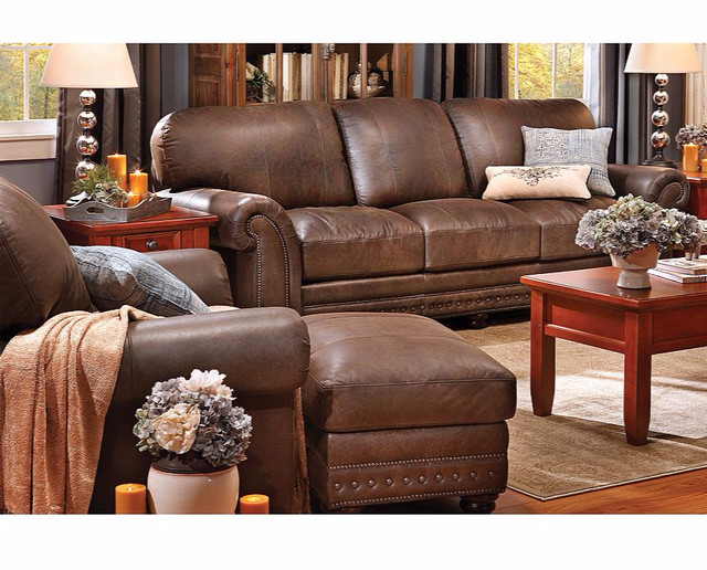 Carson Full Grain Leather Sofa Group Traditional