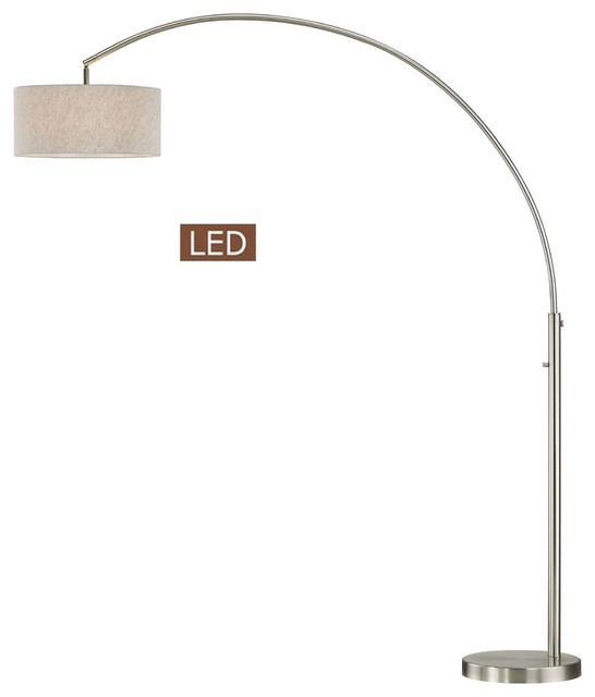 Elena 80 Led Arch Floor Lamp With Dimmer Switch Brushed Nickel