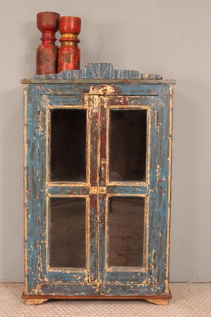 Rustic Distressed Painted Wood Indian Glass Storage