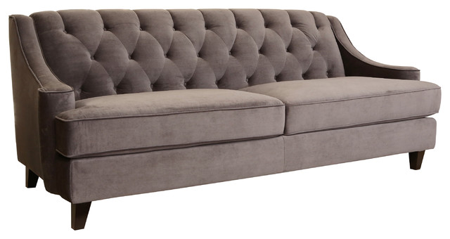 Claridge Fabric Tufted Sofa, Dark Gray.