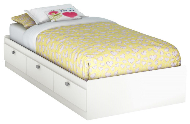 Twin Size White Platform Bed For Kids Teens Adults With 3 Storage