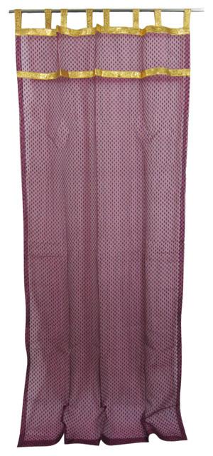2 Indian Curtain Sheer Purple Organza Golden Sari Border Window Treatment, 48x96