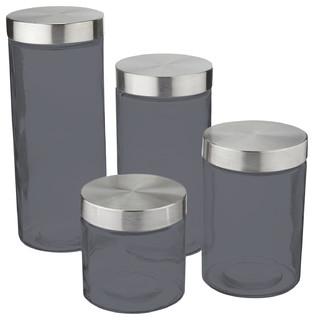 contemporary kitchen canisters anchor hocking callista 4 piece glass canister set stainless steel lids contemporary 2752