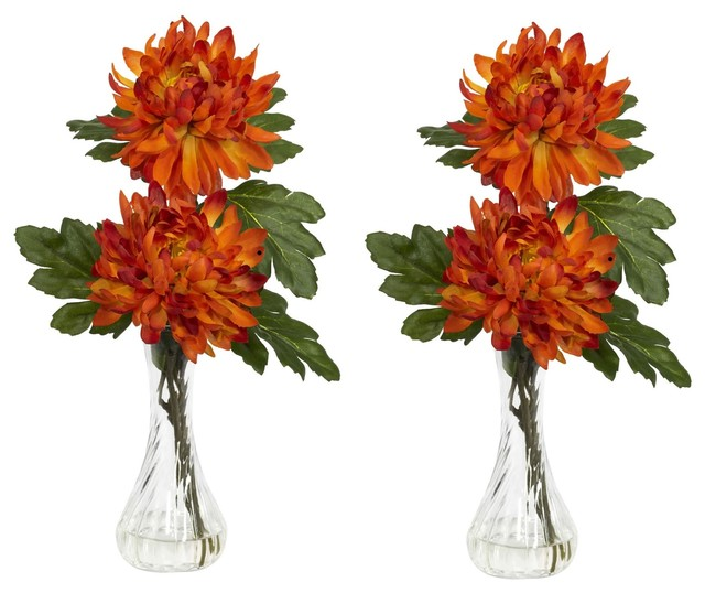 206 & Artificial Flowers Mum With Bud Vase Flower Arrangement Set Of 2 Silk Flowers