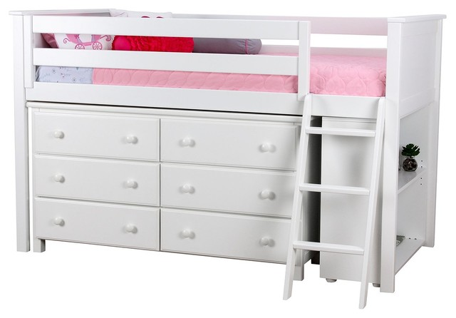 Chelsea Twin Size Mid High Storage Loft Bed, White.