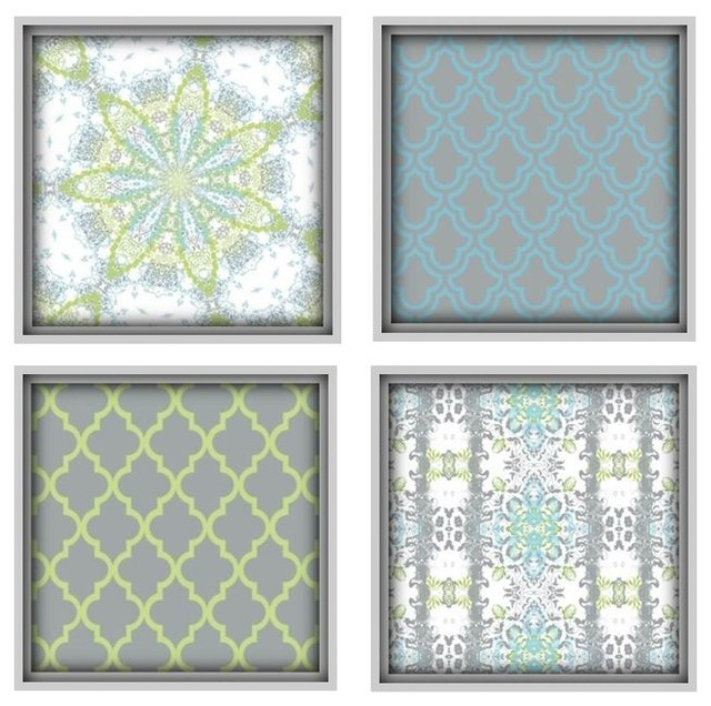 Moroccan Art Prints, Set Of 4, Lime Green, Blue And Gray Mediterranean