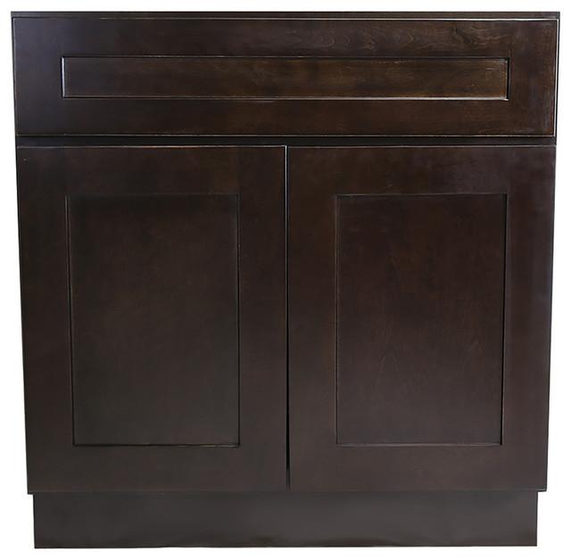 Brookings 36 Fully Assembled Kitchen Sink Base Cabinet, Espresso Shaker.