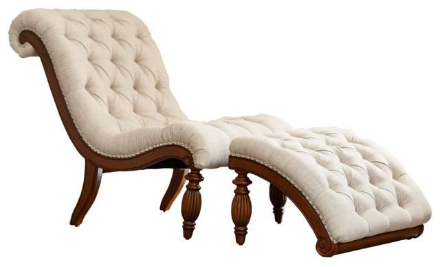 Chaise Lounge And Ottoman Set, Beige.