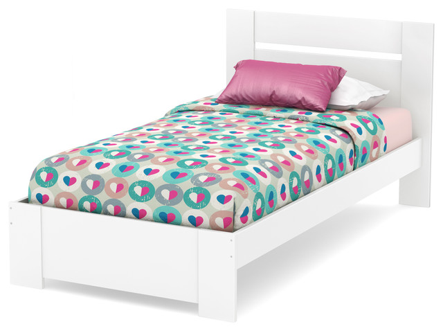 South Shore Reevo Twin Bed Set (39&x27;&x27;), Pure White.