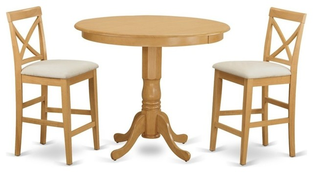 3 Piece Counter Height Dining Set, Pub Table And 2 Kitchen Dining Chairs