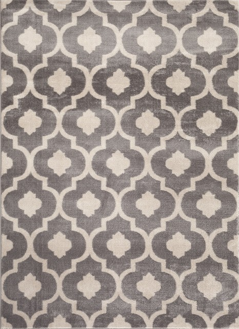 World Rug Gallery Moroccan Trellis Contemporary Gray 8u0027x10u0027 Indoor Area Rug  Mediterranean