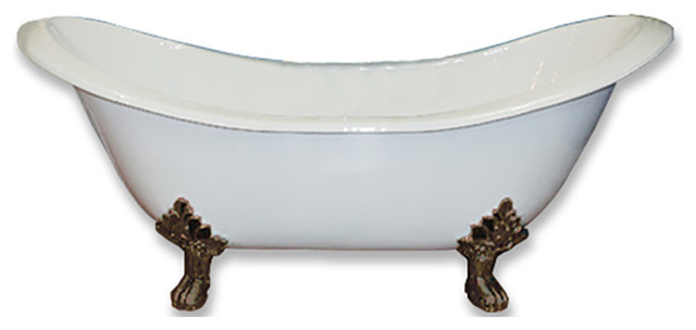 "71"" Double Ended Slipper Tub, Without Faucet Holes, Oil Rubbed Bronze Feet."