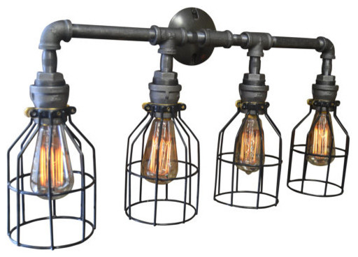 Vintage Bathroom Lights felix 4-light cage vanity fixture - industrial - bathroom vanity