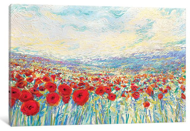 """""""poppies Of Oz Gallery"""" By Iris Scott, 40""""x26""""x1.5""""."""
