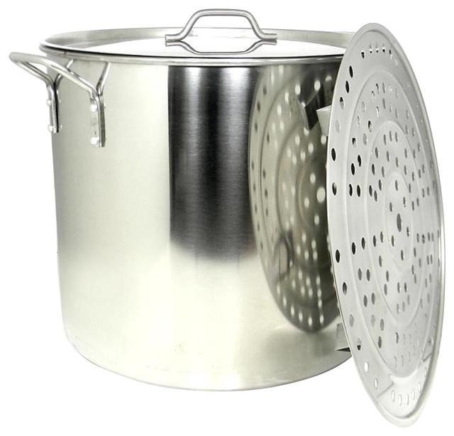 100 Qt Large Stainless Steel Stock Pot Steamer Insert Rack Riveted Handles
