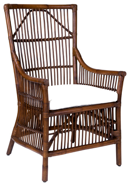 East At Main's Walton Brown Square Rattan Accent Chair