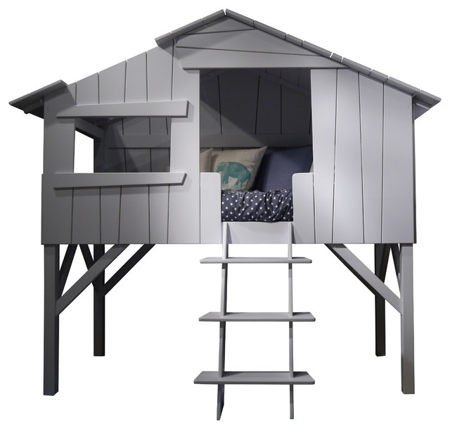 Kids&x27; Treehouse Bed, Powder Blue.